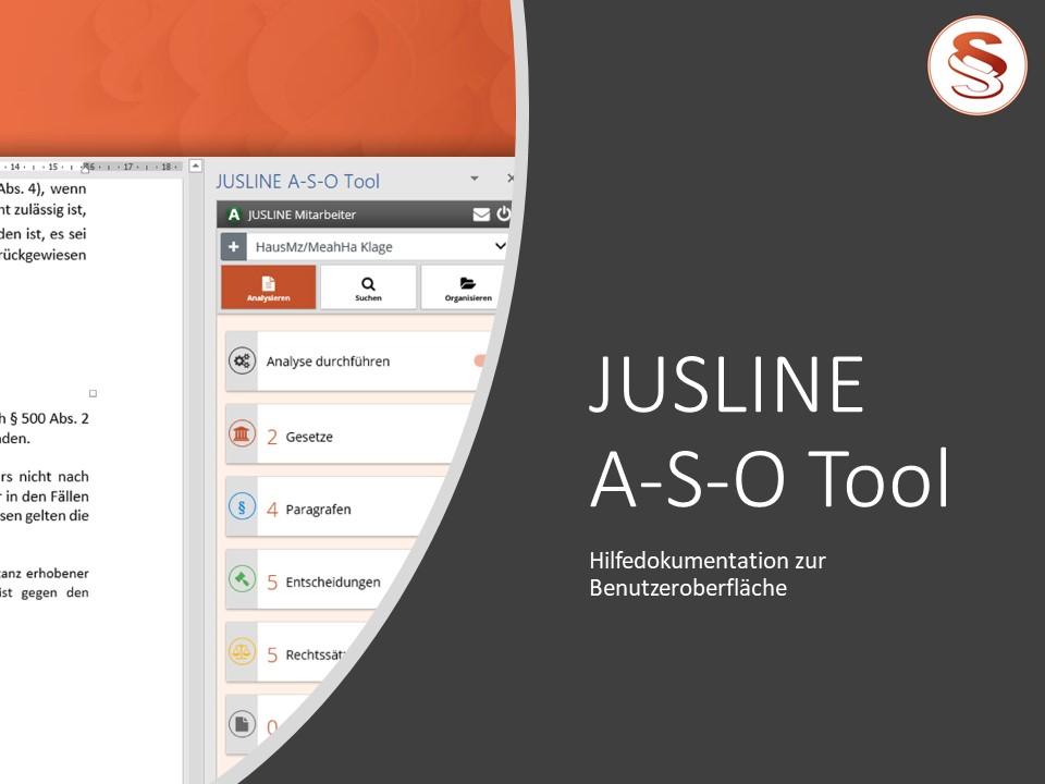 JUSLINE A-S-O Tool Hilfedokumentation zur Benutzeroberfläche