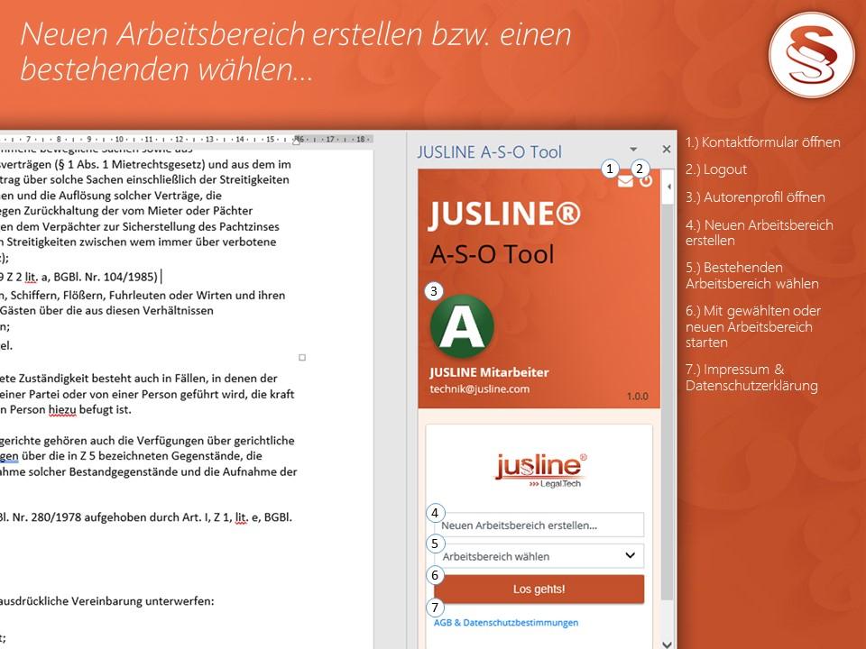 A-S-O Tool - Startbildschirm