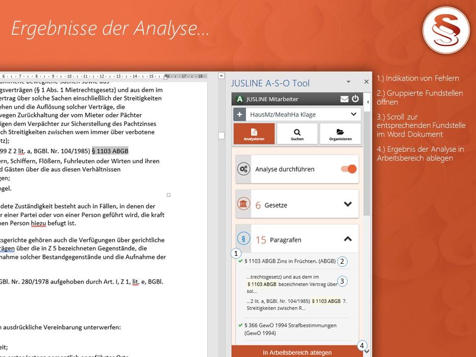 A-S-O Tool - Ergebnisse der Analyse