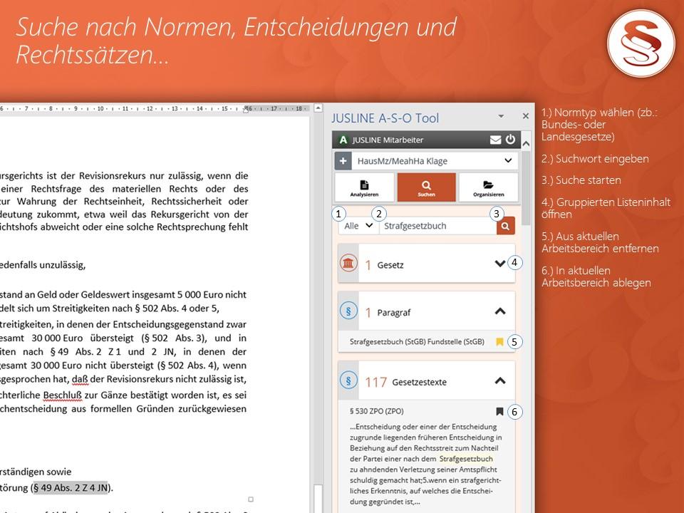 A-S-O Tool - Integrierte Suche