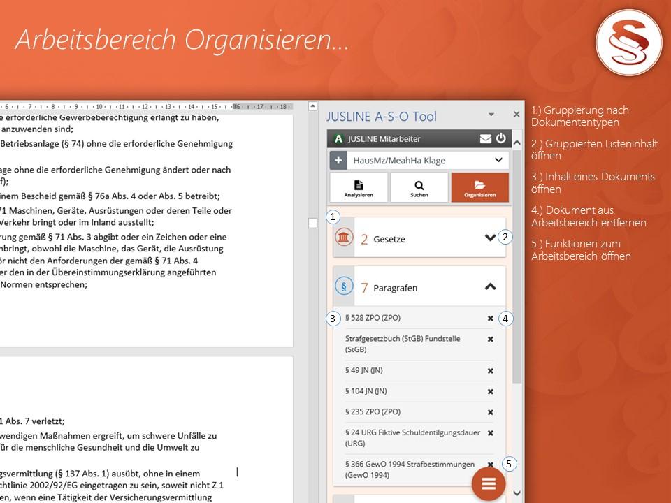 A-S-O Tool - Arbeitsbereich Organisieren
